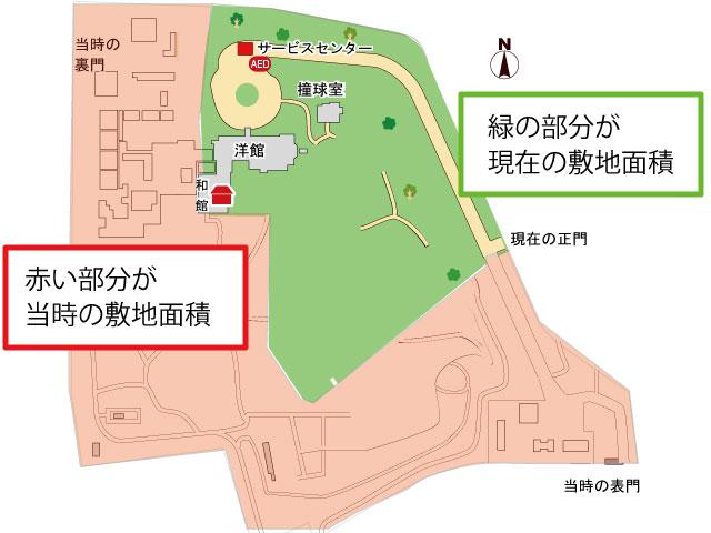 旧岩崎邸庭園、敷地面積の比較