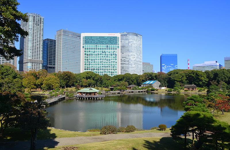 浜離宮恩賜公園、富士見坂からの景色