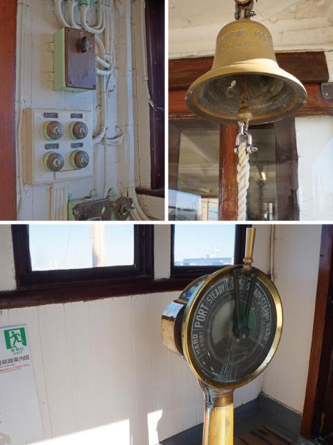 横浜山下公園氷川丸の操縦室の計器
