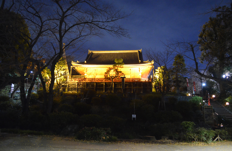 ライトアップされた上野観音堂