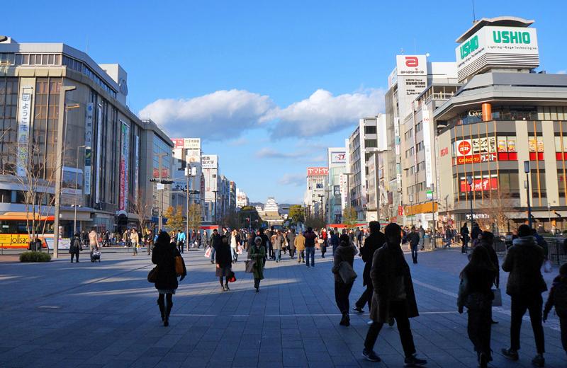 姫路駅の正面に見える姫路城