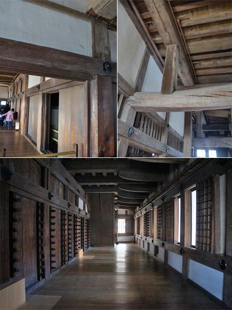姫路城。外面と反し、荒削りな城内の造り