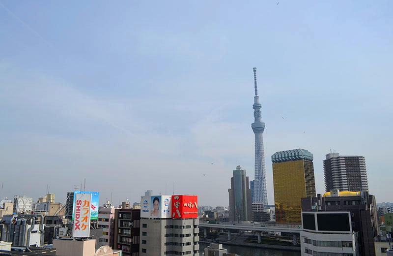 浅草文化観光センター:展望台から東側。東京スカイツリーがよく見えます。