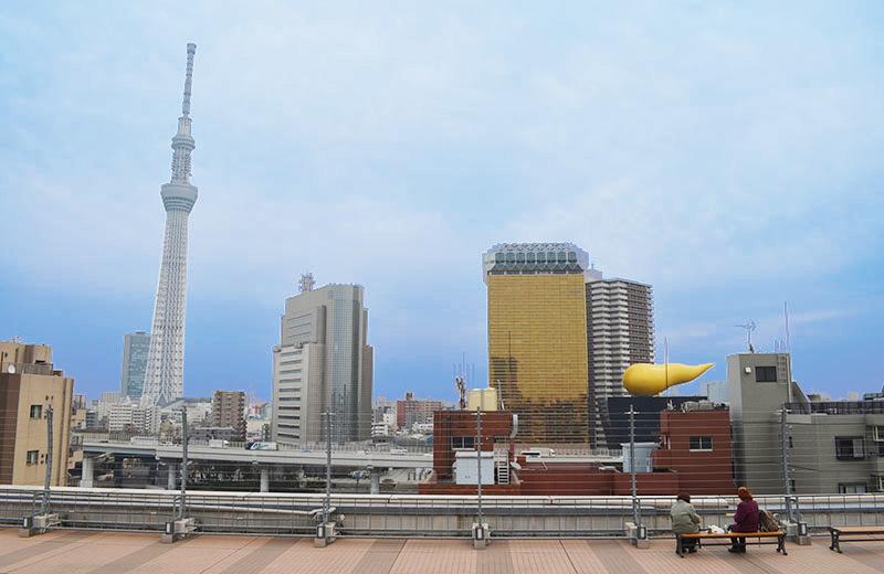 浅草ハレテラスから東側。東京スカイツリーを一望できます