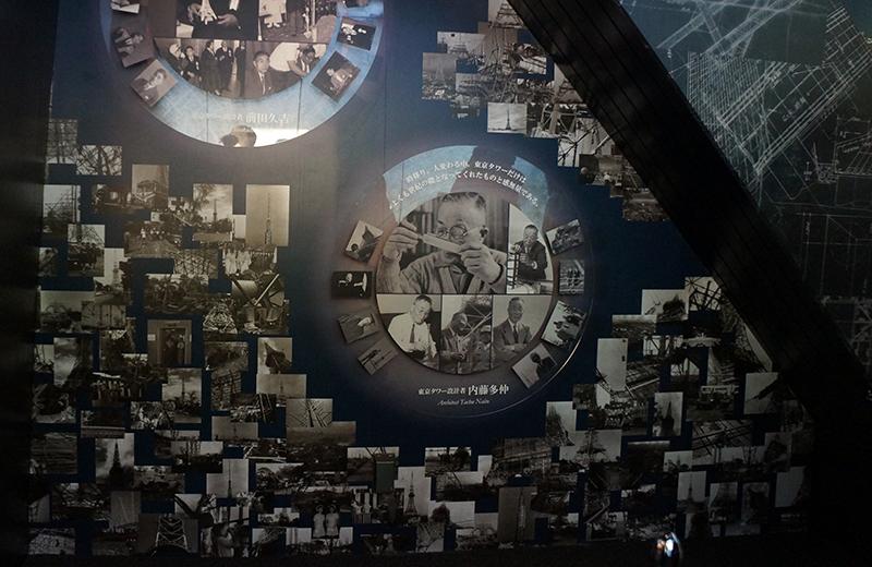 東京タワー、プロジェクトマッピングが映されたエレベーター