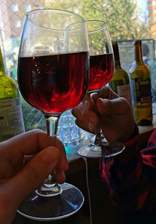 ワインで乾杯:五色不動巡り