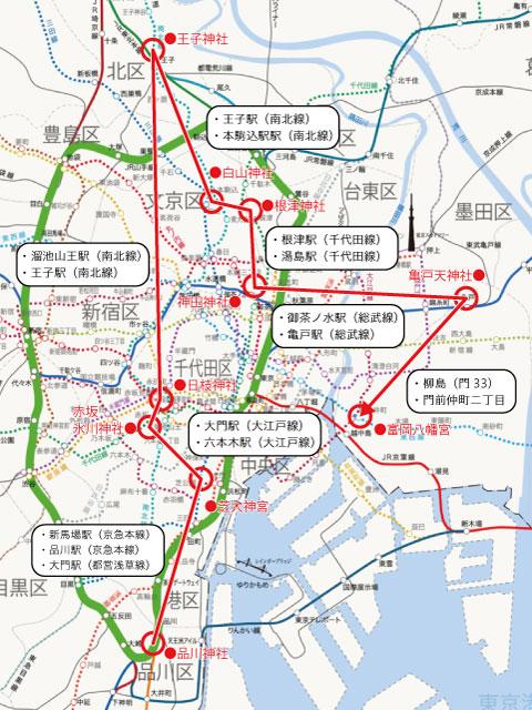 東京十社めぐり地図(交通経路)